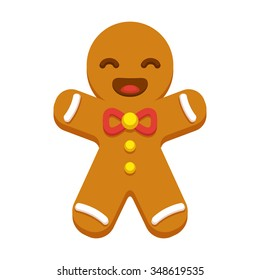 Happy cartoon gingerbread man cookie. Christmas greeting card element. Modern flat style vector illustration.