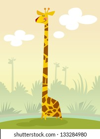 A happy cartoon giraffe standing in the grass smiling