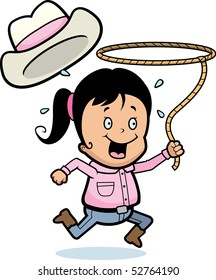 A happy cartoon girl with a lasso.