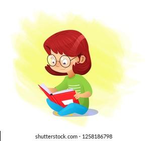 Happy cartoon girl reading book alone. Vector