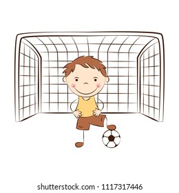Happy cartoon goalkeeper stands at the gate. Funny doodle boy play football. Kids sport activity. Vector illustration