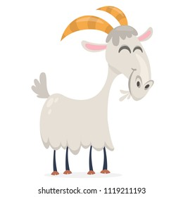 Happy cartoon goat. Vector clip art illustration with simple gradients
