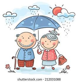 Happy cartoon grandparents on a rainy day