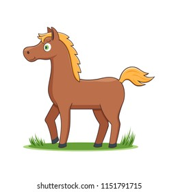 A Happy Cartoon Horse Comic Farm Animal Character Vector Illustration