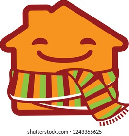Happy cartoon house wrapped in a striped scarf. Save warm icon logo vector template.