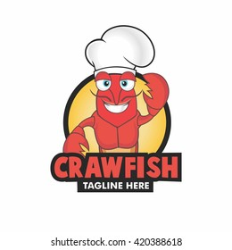 Happy cartoon illustration of crawfish with chef hat