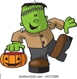 A happy Cartoon Juvenile Frankenstein. Vector file available.