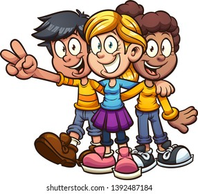 Happy cartoon kids friends hugging clip art. Vector illustration with simple gradients. All in a single layer.