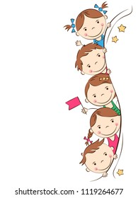 Happy cartoon kids. Funny boys and girls. Holidays, vacations, weekends. Place for your text. Vector illustration
