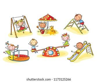 Happy cartoon kids on playground, cartoon graphics, vector illustration