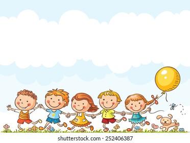 Happy cartoon kids running outdoors on a summer day