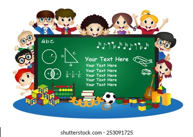 happy cartoon kids in school behind chalkboard Vector illustration