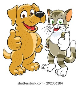 Happy cartoon kitten and pup gesturing thumbs up.
