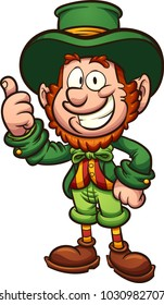 Happy cartoon leprechaun with thumbs up. Vector clip art illustration with simple gradients. All in a single layer.