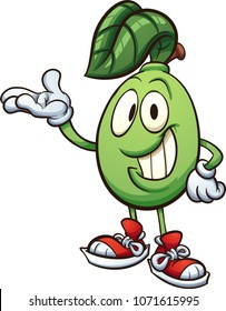 Happy cartoon lime character. Vector clip art illustration with simple gradients. All in a single layer.