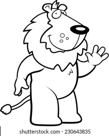 A happy cartoon lion waving and smiling.