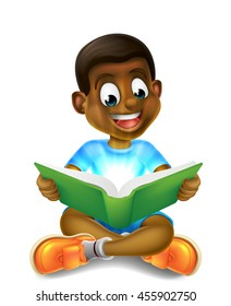 A happy cartoon little black boy enjoying reading an amazing book and using his imagination