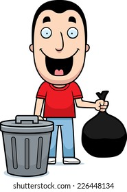 A happy cartoon man taking out the trash.