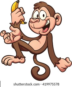 Happy cartoon monkey holding a banana. Vector clip art illustration with simple gradients. All in a single layer.
