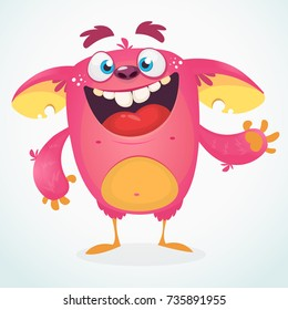 Happy cartoon monster. Halloween pink furry monster vector illustration