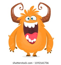 Happy cartoon monster. Halloween vector orange and horned monster.