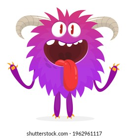 Happy cartoon monster. Halloween vector illustration of funny monster