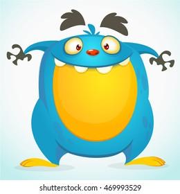 Happy cartoon monster. Halloween vector blue monster isolated