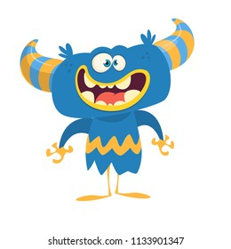 Happy cartoon monster with horns. Vector illustration