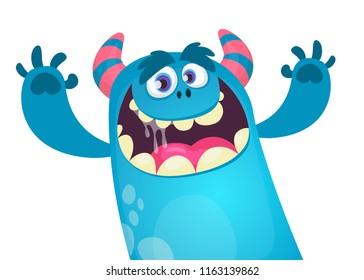 Happy cartoon monster. Vector Halloween blue furry monster yeti or bigfoot waving hands