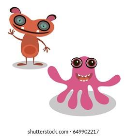 Happy cartoon monster. Vector illustration.