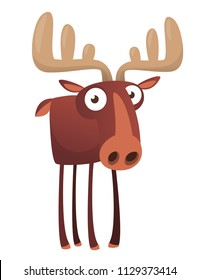 Happy cartoon moose character. Vector moose illustration isolated.