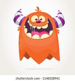 Happy cartoon orange monster character. Halloween vector illustration of excited monster.