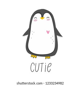 Happy cartoon penguin.  Character christmas penguin