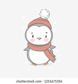 Happy cartoon penguin.  Character christmas penguin. Cute Christmas penguin in a hat and scarf in winter