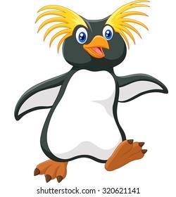 Happy cartoon penguin rockhopper cartoon