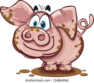 A happy cartoon pig covered in mud