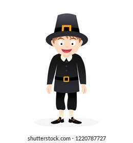 Happy cartoon pilgrim man, vector thanksgiving character illustration isolated on white background