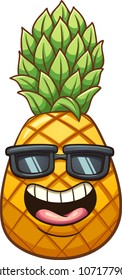 Happy cartoon pineapple. Vector clip art illustration with simple gradients. Some elements on separate layers.