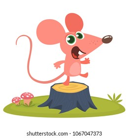 Happy cartoon pink mouse talking and standing on a tree stump in th meadow. Vector illustration isolated