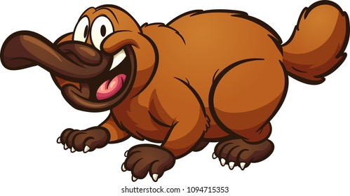 Happy cartoon platypus. Vector clip art illustration with simple gradients. All in a single layer.