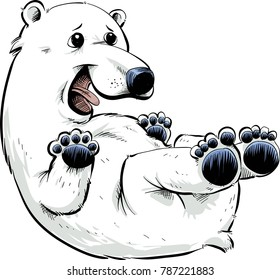 A happy, cartoon polar bear rolling on its back.