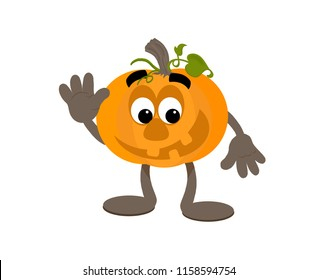 Happy cartoon pumpkin mascot waving.