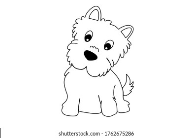Happy cartoon puppy sits, portrait of a cute dog. A dog friend. Vector illustration. Isolated on a white background.