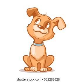 快乐的卡通小狗坐着,可爱的小狗穿着领子的肖像。 狗朋友 矢量插图。 隔离在白色背景。