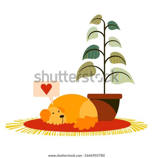 Happy Cartoon Puppy Sleeping Dog Friend Stock Vector Royalty Free 1666903780