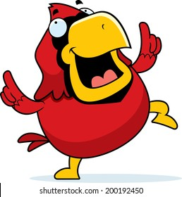 A happy cartoon red cardinal dancing and smiling.