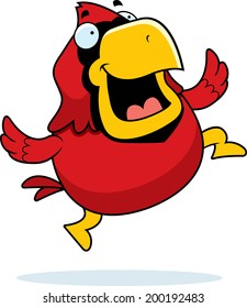 A happy cartoon red cardinal jumping and smiling.