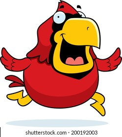 A happy cartoon red cardinal running and smiling.
