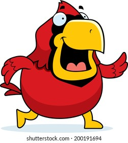 A happy cartoon red cardinal walking and smiling.