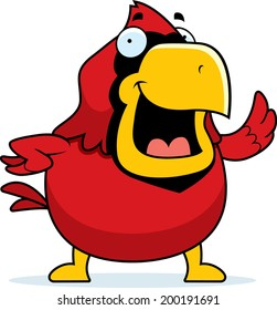 A happy cartoon red cardinal waving and smiling.